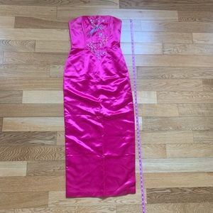 HOT PINK PAGEANT GOWN WITH SWAROVSKI CRYSTALS